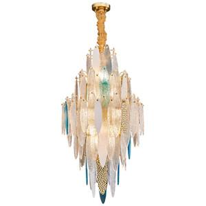 Art Deco LED Постмодерн Стекло Железный Люстра Освещение Luster Подвесной светильник Lampen Для Dinning номер 100-240