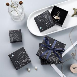 Bijoux affichage Boîte Starry Sky Motif Cas cadeau pour Bracelet Collier Bague Emballage de mariage mariée bijoux Présent Organisateur MX200810