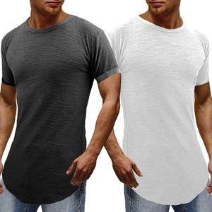 Sólidos T-shirt dos homens à moda camiseta Masculino GANHOS Curve Hem Slim Fit Streetwear Camiseta Masculino Hipster Hip Hop Homme Tops Tee
