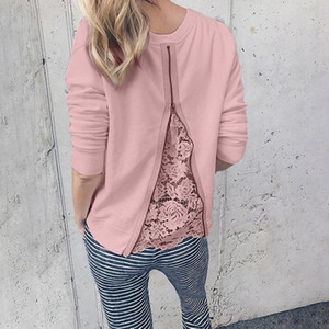 Women Spring Autumn Lace Patchwork Blouses Long Sleeve O-Neck Zipper Shirts Ladies Casual Slim Tops Size S-5XL