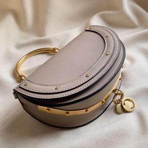 Envío gratuito bolso de la manera del semicírculo del bolso de la alta calidad de las señoras del hombro bolsa de mensajero del bolso de mano del anillo del metal