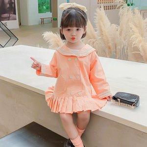 DFXD Bebek Kız Tam Kol Sailor Yaka Uzun Trençkot Moda Koreli Stil Çocuk WINDBREAKER 1-7Yrs Çift göğsü