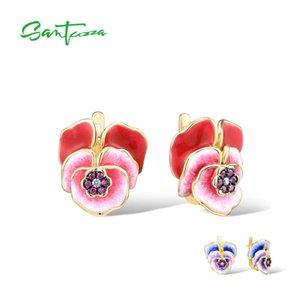 Ohrringe Großhandel Silber für Frauen Reines 925 Sterlingsilber-Rot Lila blühender Blumen Trendy Partei Fine Jewelry Handgefertigte Emaille