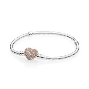 2019 NEW 100% стерлингового серебра 925 розовое золото Сердце браслет ясный CZ Малый размер Шарм бисера Fit Дети прекрасный DIY подарок ювелирных изделий четыре