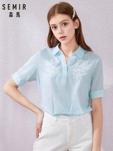Semir Mulheres Blusa Tops Verão Top Casual soltas Sólidos Chiffon Blusas fêmeas Shirts Vest Blusa Mulheres Roupa Y200622 7aFa #