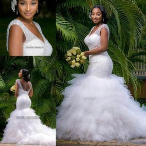 2021 Mermaid Deep V Neck Wedding Dress African Backless Ruffles Tulle Garden Bridal Gown Custom Made Vestios De Novia