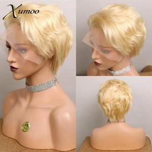 XUMOO Short Wig Remy Hair Blonde Lace Front Wig Pixie Human Hair Pixie Cut Human Bob Lace Front Wigs For Women