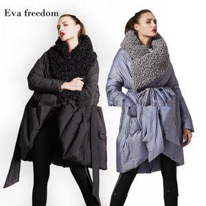 Eva Freedom Original Design down coat woman winter loose down coat Imitation beach wool cloak down jacket hooded women