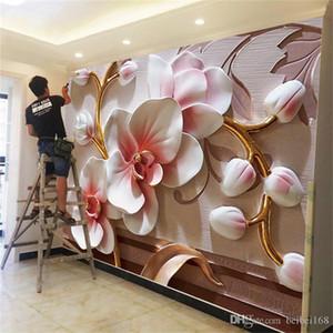3d цветка моль орхидеи Фреска свадьбы фото ресторан настенного непромокаемые обои современный цветочный обои домашнего декор-d пользовательских