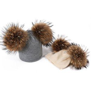 Winter Children Hats For Girls&Boys With Double Real Fur Pompon Kids Caps Baby Thick Warm Knitted Beanies Outdoor Windproof Hats