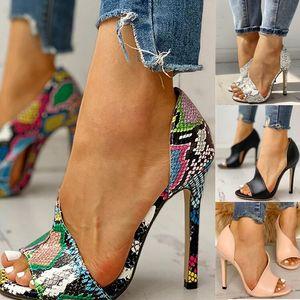 Женщины насосы Новые ботинки Sexy Высокие каблуки дамы партии стилет Увеличители Женский Серебряная свадьба Змея печати Каблуки Zapatos Ui Hot LJ200925