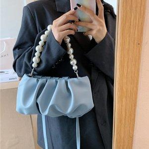 Desigher Pearl ручки Женщины сумки на ремне сумки Роскошные женщины сумки конструктора Простой Solid Color Кожа PU Посланника