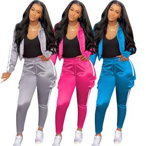 3M 반사 여성 디자이너 운동복 패션 스트라이프 긴 소매 재킷과 바지 세트 봄 가을 여성 2 조각 세트
