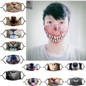 Funny Animals Bouche Masque Enfants Adultes 3D Imprimer Masques Visage Masque anti-poussière Anti-UV Face lavables Masques de protection durables avec filtre cadeau