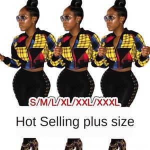 Kadınların seksi kadın giyim kontrast Jacket ekose dikiş raglan kollu Kol klip GL6065 renk fermuar ceket ceket fermuar Bb54w