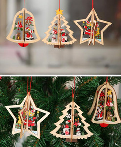 2D 3D Christmas Wooden Hanging Pendants hollow out Star Xmas Tree Bell Christmas Ornament Home Party Decorations GGA3679