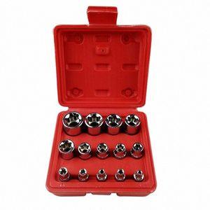 14pcs Antrieb Handwerkzeuge aus Stahl E4-E24 Startseite Tragbare Durable Kombination Socket Set Reparatur Torx Bit-Metrik E Stern 4duI #