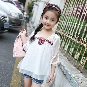 E08ys 2020 nueva ropa del verano de los niños de las mujeres del bordado de la nacionalidad nacionalidad del cordón Cordón estilo étnico Top hombros fugas de medio y