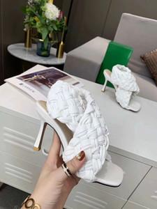 Yeni 2020 sivri dokuma yüksek topuk sandalet peep toe ince topuk koyun derisi moda yüksek topuklu yaz kadın Terlik Boyut 35-42