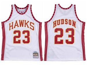 UominiAtlantaHawks Lou Hudson 23 Mitchell Ness Teal Strada 1972-1973 legni duri classici bianco Jersey autentica