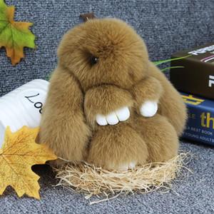 20 Colors !!Easter Bunny Doll Keychain Soft Cute Rabbit Fur Pom Pom Fluffy Plush Pendant Key Chain Car Handbag Keyring Womens