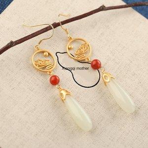 Hetian Beyaz Jade Lotus şık hepsi maç kadın eardrop Beyaz Jade küpe gümüş eardrop küpe kakma fjkGC Bohui S925 gümüş