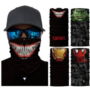 16 setyles venda quente Marvel máscara Outdoor Ciclismo Magia Lenço Máscara Bib 3D Lenço de seda sem emenda Imprimir protetor facial de proteção