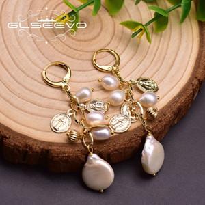 GLSEEVO naturale nappa barocco lungo in stile artigianale GLSEEVO naturale orecchini di perle barocche perla nappa orecchini fatti a mano lungo stile