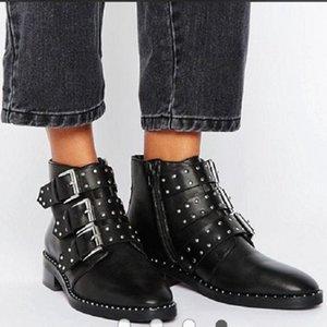 Shoes Women 2020 Fashion Vintage Punk Rivets Sexy Pointed Toe Ankle Boots Slip on Deep High Heel Women Boots Bota Feminina