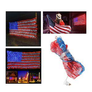 Amerikan bayrağı net ışıkları 6.5ft x 3.3ft 420 leds dize ışıkları büyük ABD bayrağı açık kapalı ışıkları su geçirmez led şerit değil
