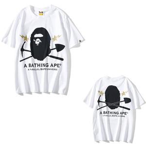 t-shirt de 20s hommes T-shirt mince mode manches courtes femmes style cartoon joint camouflage lettre de singe impression d'estampage de grande taille M-XXL