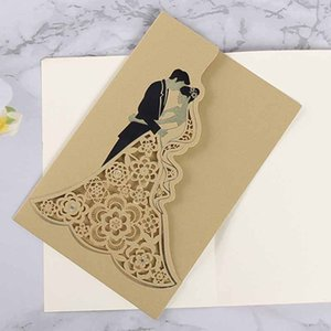 10 Pcs lot New Korean Style Fashion Laser Hollow Hot Stamping Invitations Modern Invitation Card with Envelope Wedding Supplies