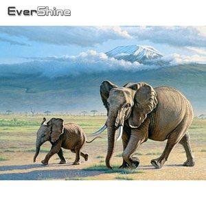 Evershine Diamond Embroidery Elephant Cross Stitch Mosaic Diamond Painting Animals Full Square Rhinestone Pictures Home Decor