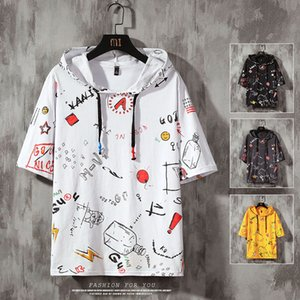 Mens Tops Tees Summer Print Short Sleeve With Hooded T Shirt Hip Hop Streetwear Sports Wear Tshirt 200925