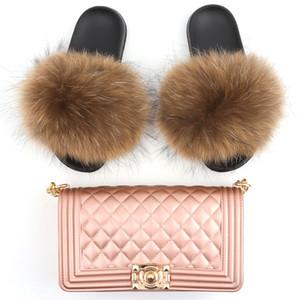 Vendor Zapatos de mapache de moda para mujer Logotipo personalizado Fox Mullido Piel Sandalias suaves al por mayor Llomeras de las mujeres de las mujeres de color natural Diapositivas de piel