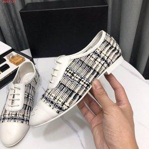 Butikler ayakkabı düz ayakkabı bağı kutusu ayakkabı elbise dikiş Yeni lüks moda kadın ayakkabı Düz deri pamuk satıldı