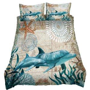 Dolphin conjuntos de cama lençóis capa de edredão e fronhas 3 Pcs Folha cama de solteiro Rainha Rei Adolescente Imprimir
