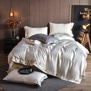 Stain Jacquard beding set queen king beige grey duvet cover bed linen sheet bedclothes solid color wedding home textile European