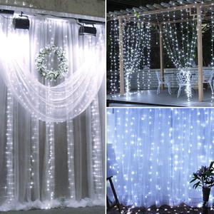 LED Solar Powered Weiß Schnur-Licht-Weihnachtsgarten-Dekor-Flashing Weihnachten Hochzeit Außendekoration Vorhang-Schnur-Licht Lichterketten