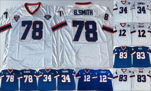 NCAA Football vendimia cosió jerseys 34 Earl Campbell 12 Jim Kelly 83 Andre Reed 34 Thurman Thomas 78 Bruce Smith azul camiseta de los hombres blancos