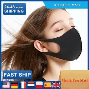 Einzelpackung Black Cotton Gesichtsmasken für Frauen / Männer Mund Masken Anti Staub Radfahren Tragen Schwarze Mode-Qualitäts-Mouth-Muffel