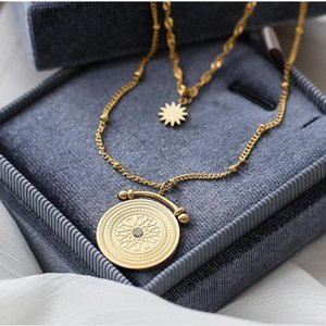 Multilayered ancient Rome disc coin necklace stainless steel for women rose gold color star pendant fashion 2020