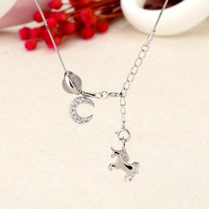 S925 prata multi-elemento de moda longo colar feminino borla unicorn vermelho net com a cadeia lua clavícula mesmo temperamento