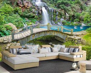 3d Landscape Modern Wallpaper Dream Little Bridge and Flowing Water Waterfall Romantic Scenery Decorative Silk Mural Wallpaper