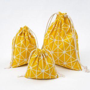 2020 Fashion Women Shopping Bag With Drawstring Resuable Bag Cotton Travel Underwear Shoe Storage Bag