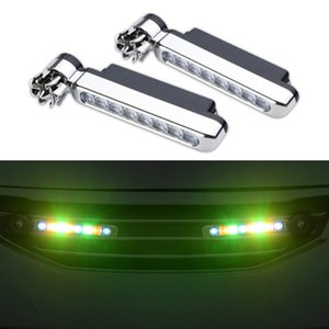 2 Pieces set of Wind Energy Car Daytime Running Lights 8 LED Lamp Beads Car Front Grille Exterior Decoration Atmosphere Light