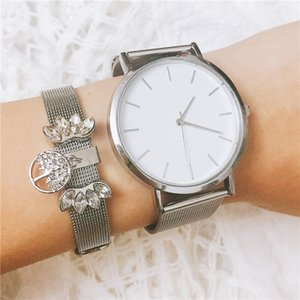 Vinnie Design Jewelry Silver Color Mesh Keeper Bracelets Set with Stainless Steel Wristwatch