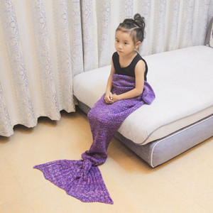 Kid Knitted Mermaid Tail Blanket Bedding Sofa Sleeping Bag Christmas Gift Mermaid Stick Needle Yarn Tail Throw Bed WrapGQ