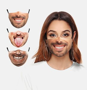 Masque souhait drôle Halloween masque d'impression numérique 3D oreilles tombantes équitation d'extérieur antipoussière protection lavable masque diy