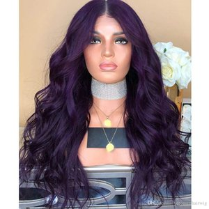 Long Wavy Synthetic Lace Front Wig Glueless Purple High Temperature Heat Resistant Fiber Hair Wigs For Women